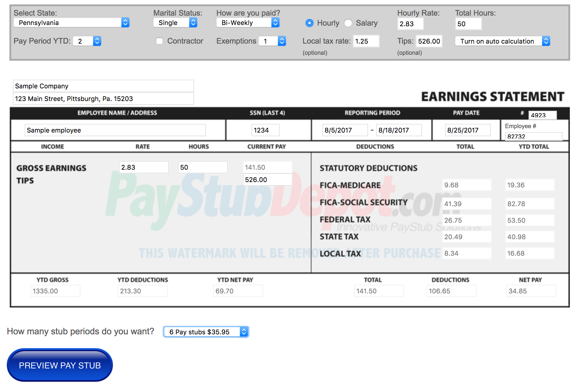 Great looking online pay stub generator